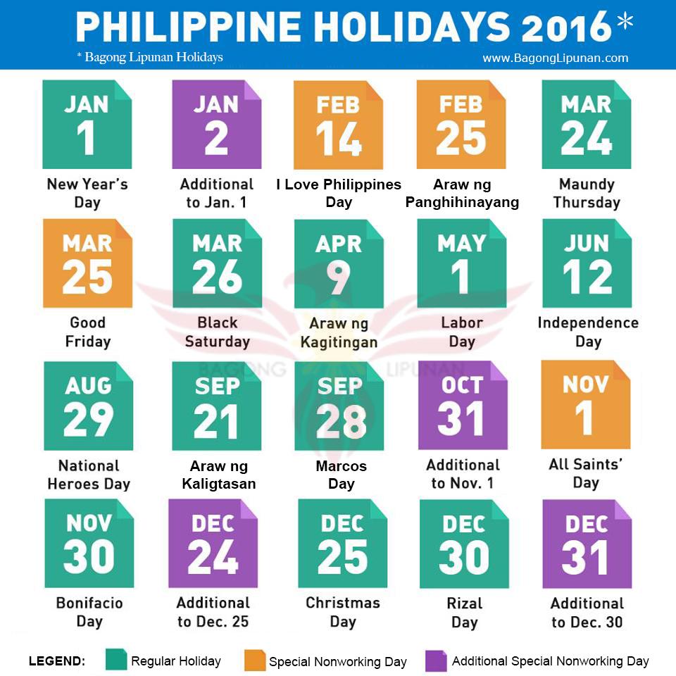 Bagong Lipunan's Philippine Holidays 2016