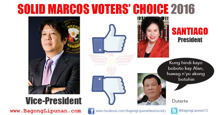 Loyalists' Solid Vote.  Santiago-Marcos tandem.