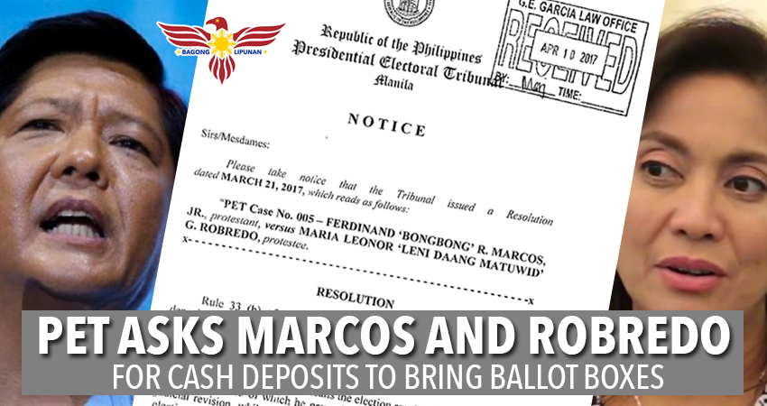 PET-asks-bongbong-marcos-leni-robredo-Cash-Deposits-for-Ballot-Boxes