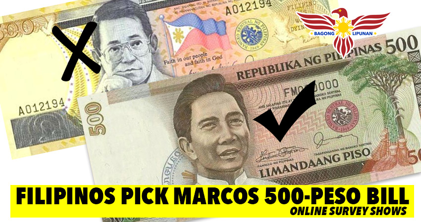 Filipinos pick Marcos 500-Peso bill over Ninoy, online survey shows